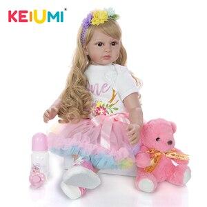 KEIUMI New New Arrival Reborn Menina Doll Realistic Silicone Reborn Baby Doll 60 cm Long gold Curls Lifelike Princess Playmates