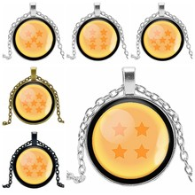 Hot Children's Seven Dragon Beads Anime Around Time Crystal Glass Convex Round Pendant Necklace Clothing Sweater Chain Jewelry(China)