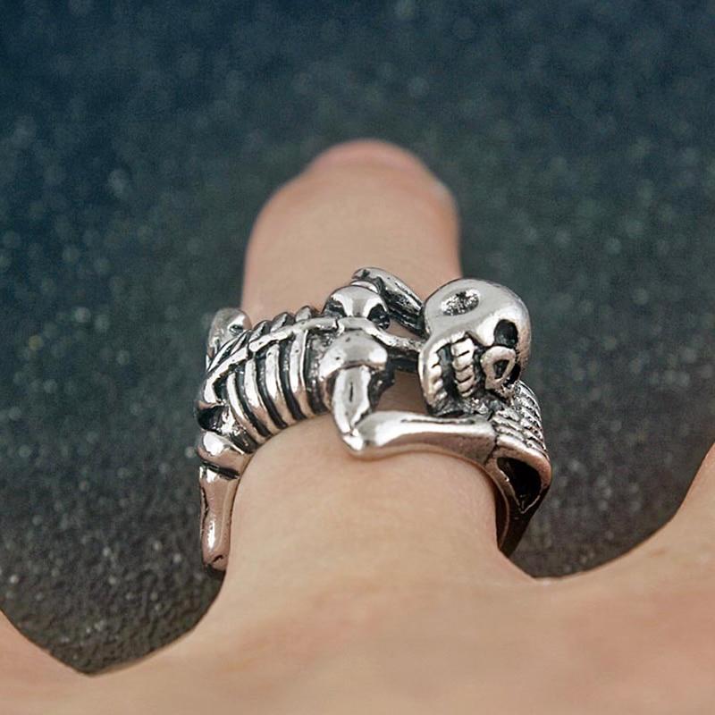 Панк ретро скелет череп открытие кольцо для мужчин женщин мода хип-хоп вечерние Кольца Аксессуары креативный Хэллоуин ювелирные изделия по...