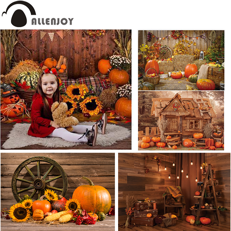 Allenjoy Autumn Photophone Pumpkin Wooden Floor Haystack Flag Halloween Background Sunflowers Christmas Photography Backdrop|Background|   - AliExpress