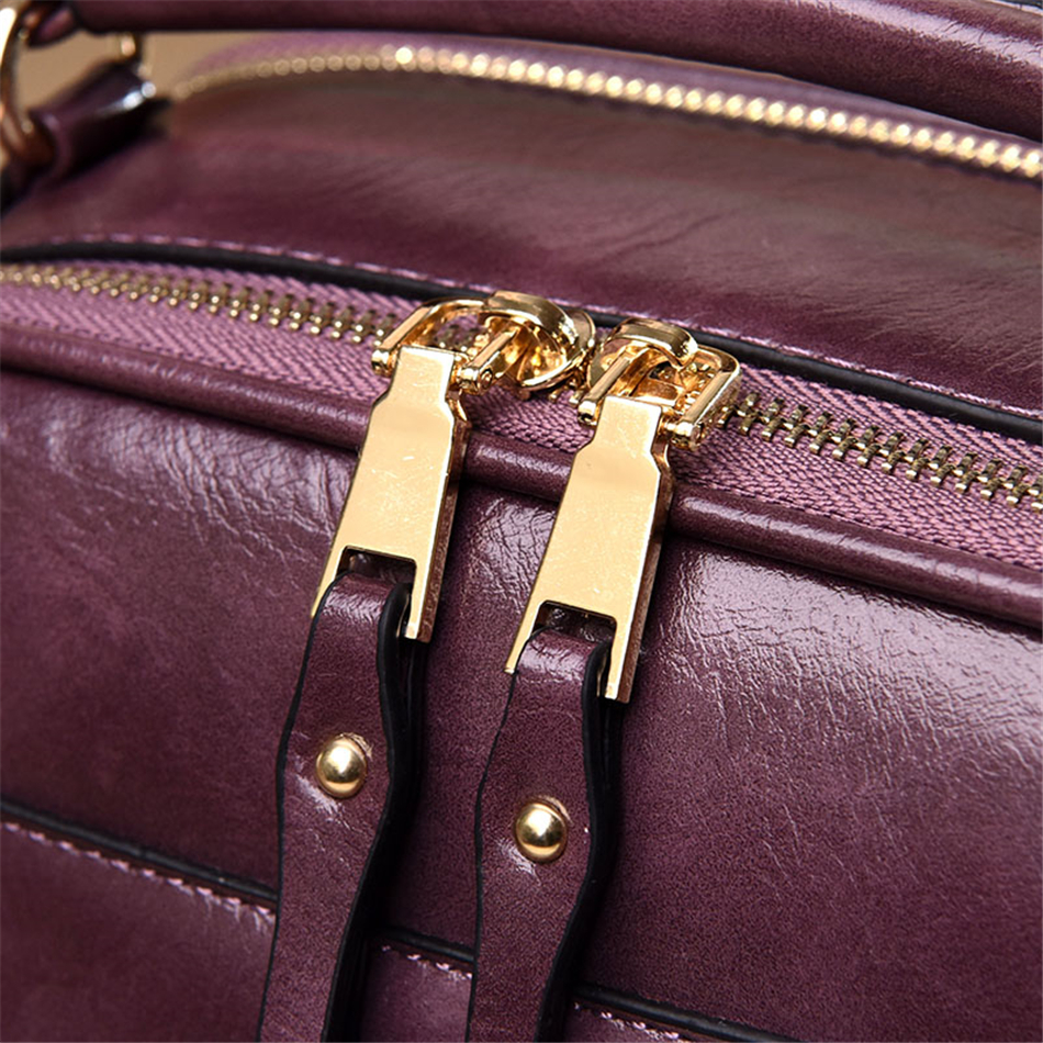 Image 5 - Genuine Leather Luxury Handbags Women Bags Designer Vintage Ladies Double Layer Inner Shoulder Bag Crossbody Bags for Women 2019-in Top-Handle Bags from Luggage & Bags