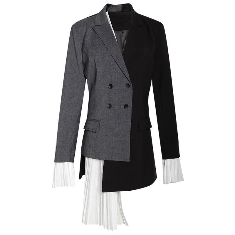Women Long Blazer Jacket Colorblock Spring Autumn Double Breasted Asymmetric High Street Blazer Coat