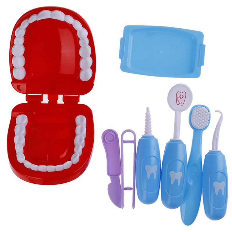 9Pcs Pretend Play Toy Dentist Check Teeth Model Set Medical Kit Educational Role Play Simulation Learing Toys For Children Kids