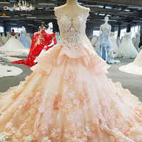 LS00279 vestido de festa appliques sleeveless see through back ball gown flower beading lace luxury evening dresses real photos