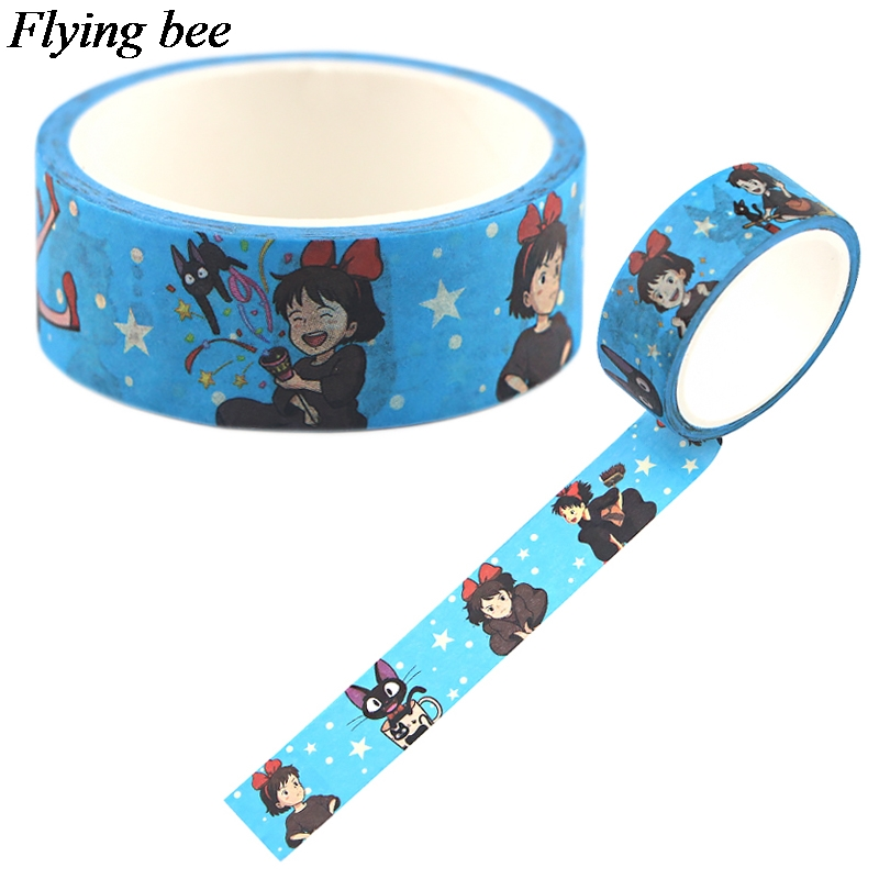 Flyingbee 15mmX5m Cartoon Girl Washi Tape Paper DIY Decorative Adhesive Tape Stationery Masking Tapes Supplies X0749