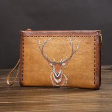 Genuine Leather Dog prints Men Wallets for Credit Card Holder Clutch Male bags Coin Purse Male Long Purses carteira masculina new alligator 100% genuine leather men wallets long man purses vintage brand male money bag retro carteira masculina card holder