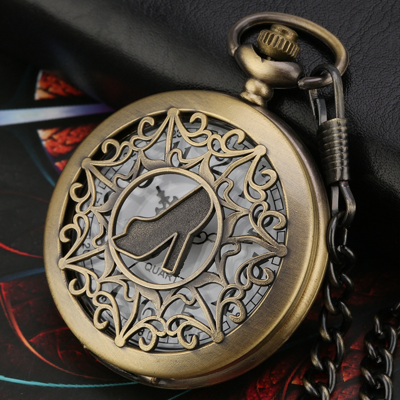 Retro Bronze Umbrella Pattern Carved Hollow Female High Heels Quartz Pocket Watch Women Clock Fob Watches Chain Necklace Pendant