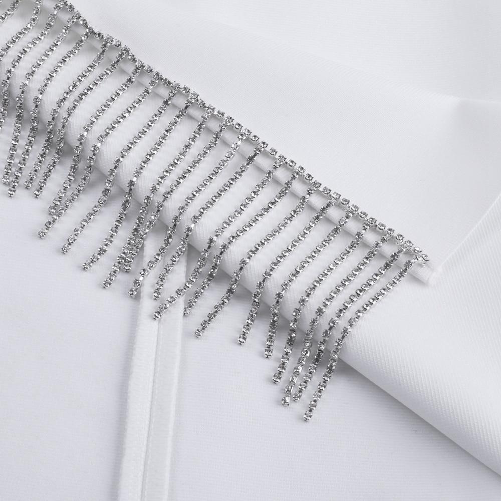 Mobile 最も安い 新着夏クリスタルトリム包帯パーティードレスセクシーな白包帯ドレス女性ノースリーブボディコンミニドレス Nadler