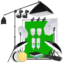 Photography Background Frame Support Softbox Lighting Kit Boom Arm Tripod Stand 4 Backdrops for Portrait Product Video Shooting