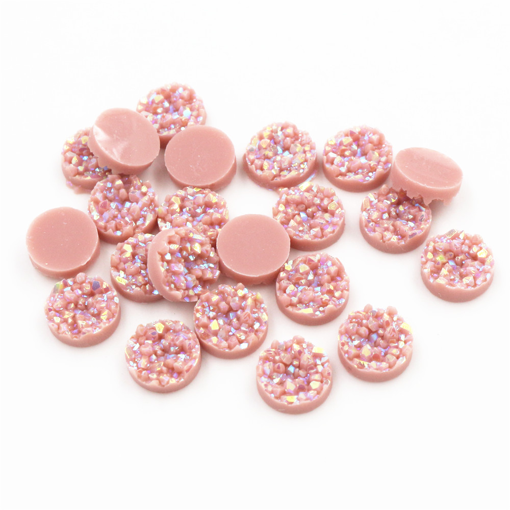 New Fashion 8mm 10mm 40pcs Light Peach AB Colors Natural Ore Style Flat Back Resin Cabochons For Bracelet Earrings Accessories