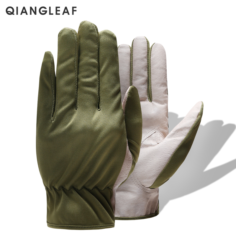QIANGLEAF Brand Leather Work Gloves Driving Green Safety Breathable Protection Gardening Leather Working Glove Free Shipping 620