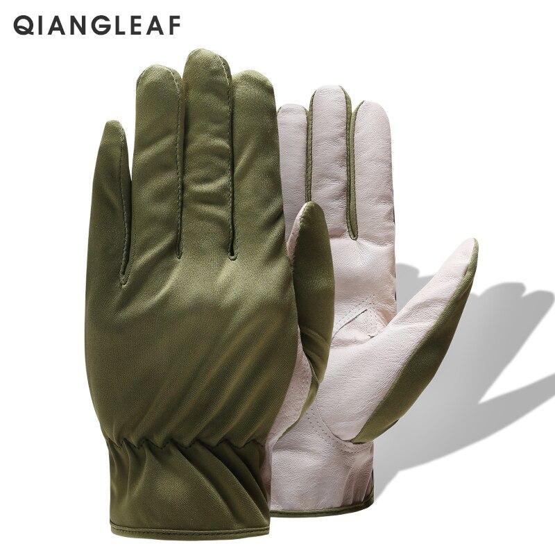 QIANGLEAF marque cuir travail gants conduite vert sécurité respirant Protection jardinage cuir travail gant livraison gratuite 620