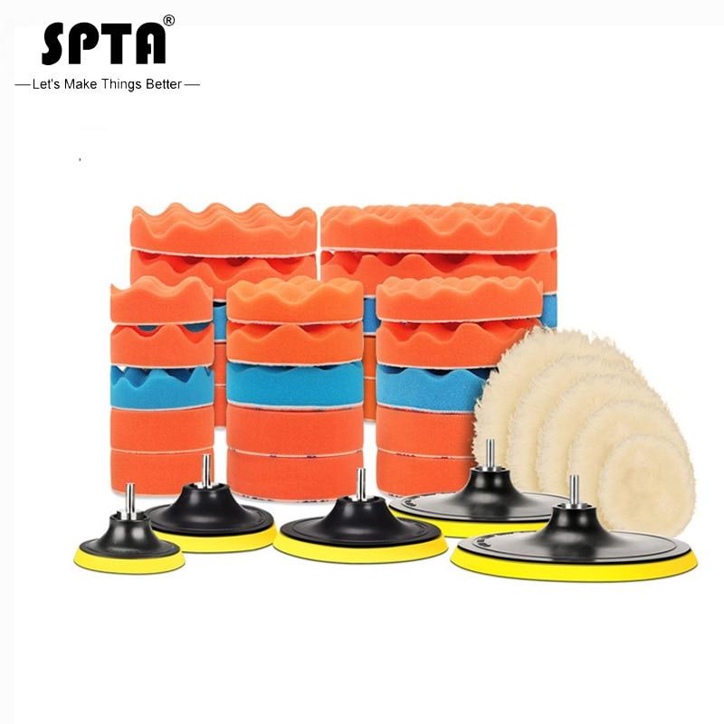 SPTA 8Pcs Buffer Pad Set 5/6/7 Inch Auto Car Polishing Pad Kit For Car Polisher + Drill Adapter M14 Power Tools Accessories