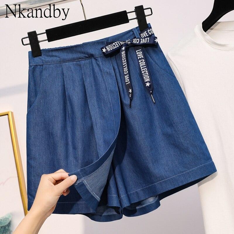 Plus Size Tencel Denim Shorts Skirts Summer Women Elegant Fashion Loose Elastic Waist Lace Up Oversized Ladies Wide Leg Shorts