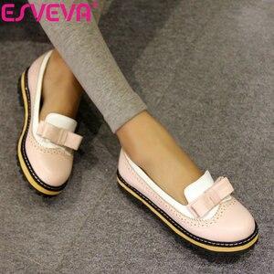 Image 1 - Женские туфли на плоской подошве ESVEVA, туфли из мягкой искусственной кожи с круглым носком, на шнуровке, в стиле пэчворк, размеры 34 43, для весны и осени, 2020