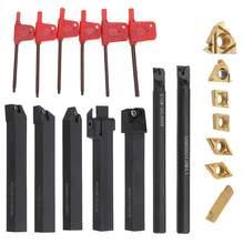 Daniu 7 conjunto 12mm haste torno chato barra torneamento ferramenta titular conjunto com inserções de carboneto para semi acabamento e operações de acabamento