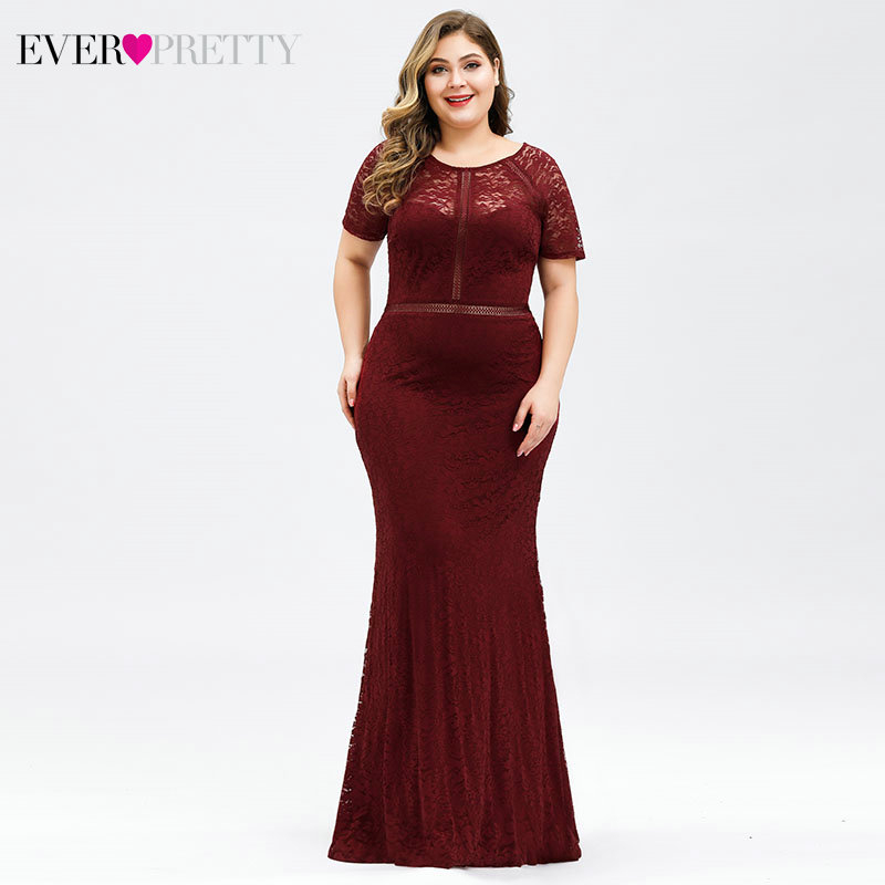 Plus Size Burgundy Evening Dresses Long Ever Pretty EZ07752BD Short Sleeve O-Neck See-Through Lace Mermaid Party Gowns Vestido
