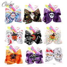 Oaoleer Hair Accessories 7 Halloween Bows for Girls Monster Print Hairgrips with Felt Bowknot Dance Party Headwear