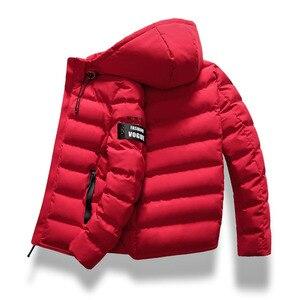 Image 1 - 2019 브랜드 패션 가을 겨울 자켓 파카 남성 여성 코트 후드 웜 남성 겨울 코트 캐주얼 피트 오버 코트 4xl 파커 남성