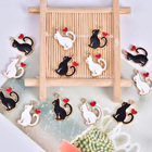 10pcs Enamel Cat Cha...