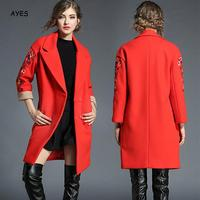 New Year Red Long Sleeve Blends Jacket Loose 2019 Winter Red Wool Coat Embroidery Christmas Long Warm Woolen Outwear Long Style
