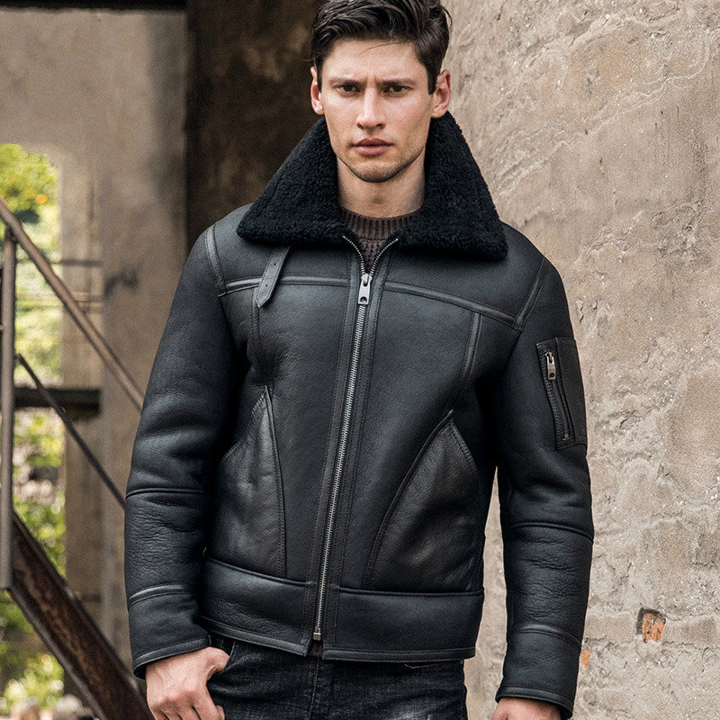 New Men's B3 Shearling Jacket Thicken Sheepskin Coat Winter Fur Coat Mens Genuine Leather Jacket Black Motorcycle Jacket Men