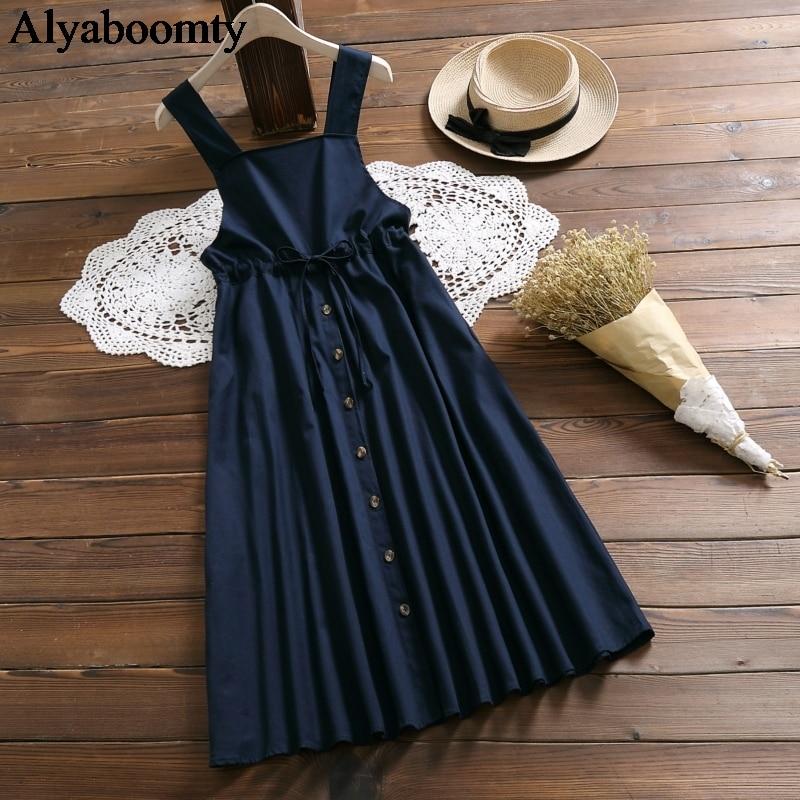 Japanese Mori Girl Spring Summer Women Sundress Navy Blue Suspenders Elegant Dress Cotton Linen Vintage Sleeveless Midi Dresses 7