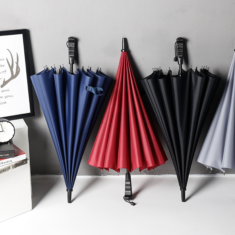 Promotional Business Automatic Open Long Umbrella 16K Golf Umbrella Straight Umbrella Customizable Logo Gift Advertising Umbrell
