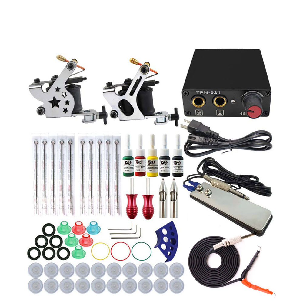 Complete Tattoo Machine Kit Set 2 Coils Guns 5 Colors Black Pigment Sets Power Tattoo Beginner Kits Permanent Makeup Machines
