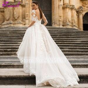 Image 4 - Fsuzwel muhteşem aplikler gelin mahkemesi tren dantel A Line düğün elbisesi 2020 büyüleyici Scoop boyun yarım kollu prenses gelin kıyafeti