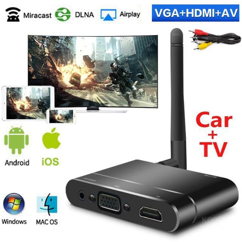 Mirascreen X6W Wifi Dongle Miracast Airplay Screen Mirroring TV Stick Wireless HDMI + VGA Adapter For IOS Android Phone To Car