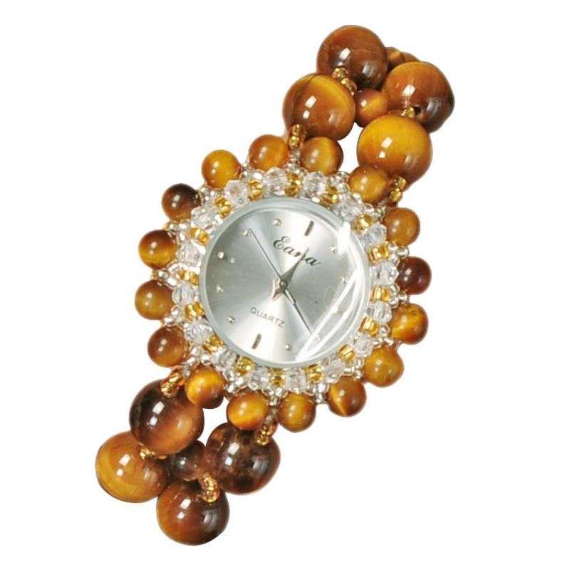 Nouveauté femmes montre à Quartz filles femme Nature oeil de tigre pierre Bracelet bijoux montre-Bracelet étudiants montre-Bracelet cadeaux