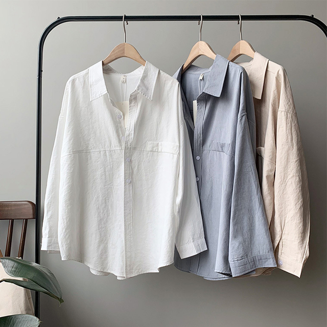 BGTEEVER Minimalist Loose White Shirts for Women Turn-down Collar Solid Female Shirts Tops 2020 Spring Summer Blouses 4