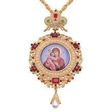 Ortodoksyjna eliptyczna korona piersiowa wzór w krzyże klejnotami ikona religijna bizantyjski krucyfiks naszyjnik biskup kapłan episkopalny