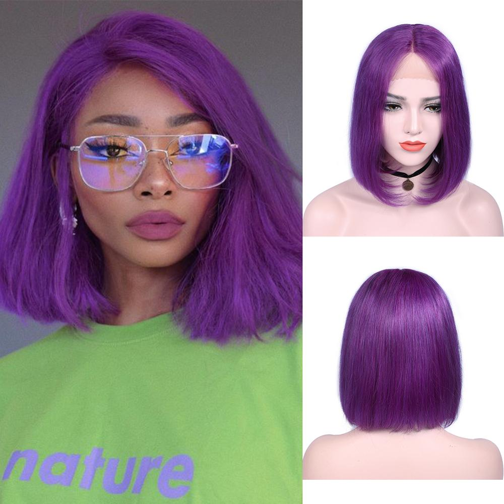Wignee Lace Part Purple Straight Hair Bob Style Human Hair Wigs For Women 150% High Density Remy Brazilian Purple Bob Human Wig