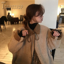 2019 2 Side Can Wear Korean Kawaii Women Coat Imitation Lambswool Female Jacket