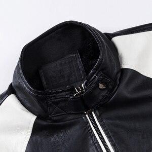 Image 5 - Oumor 남자 2020 겨울 새로운 캐주얼 모터 두꺼운 양털 가죽 자켓 남자 가을 야외 패션 바이커 따뜻한 PU 가죽 자켓 남자