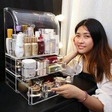Botellas de perfume grandes a prueba de polvo, Caja de almacenaje para maquillaje, botellas de perfume de plástico a prueba de polvo, organizador de maquillaje cosmético, caja de soporte C5062
