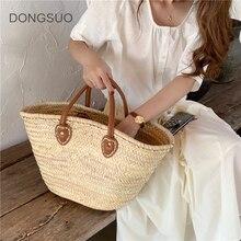 Rattan bag beach straw totes wicker basket bag