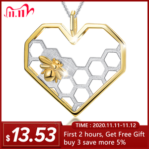 Image 2 - Lotus Fun Real 925 Sterling Silver Fine Jewelry Honeycomb Home Guard 18K Gold Bee Love Heart Pendant without Chain for Women