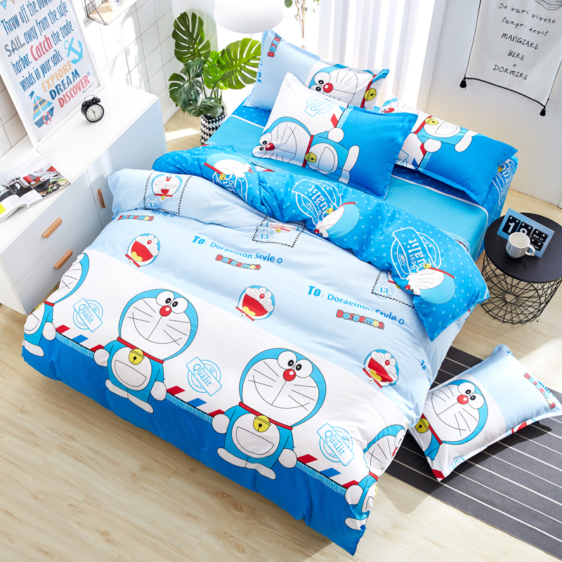 Japan Cartoon Character Doraemon Bedding Set Polyester Cotton Fabric Children Bed Linen 3/4pcs Duvet Cover Flat Sheet Pillowcase