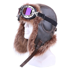 Vintage Bomber Hat with Goggle Faux Fox Fur Leather Russian Ushanka Ha