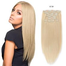 Human-Hair-Extensions Remy-Hair Clip-In Full-Head Straight ALI-BEAUTY Dark-Brown 8pcs/Set