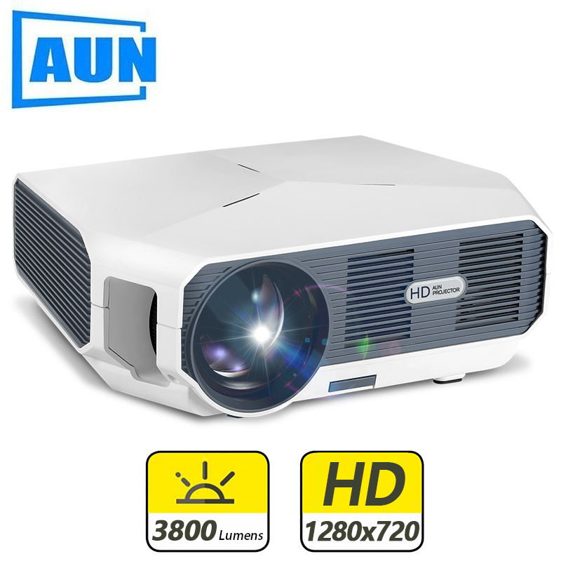 Aun mini projetor et10, 1280x720 p, 3800 lúmen, opcional (espelhamento/versão android), projetor led para 1080 p vídeo 3d beamer