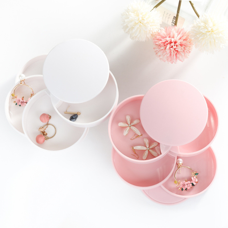 2020 Jewelry Storage Box New Design Fashion 4-Layer Rotatable Jewelry Accessory Storage Tray With Lid Birthday Gift For Women