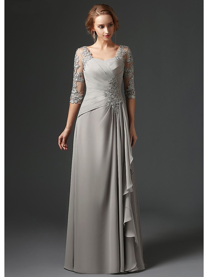 Silver 2020 New Mother Of The Bride Dresses A-line 3/4 Sleeves Chiffon Lace Plus Size Long Elegant Groom Mother Dresses Wedding