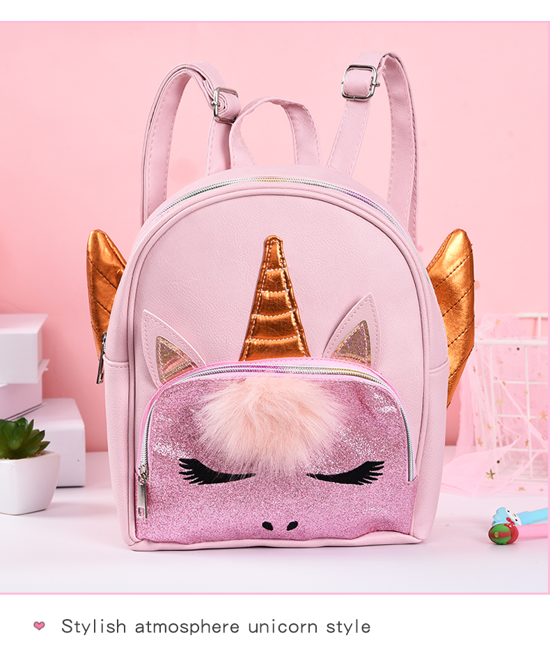 [New Arrival] PU Leather Unicorn Backpack With Funny Details