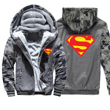 Superman Hoodie Camouflage Winter Men Thick Warm F