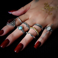 цены NJ 2019 New 8 Pieces Set Fashion Retro Woman Rings Red Blue Gem Silver Rings Cool Rings For Wedding Party Girl's Gift