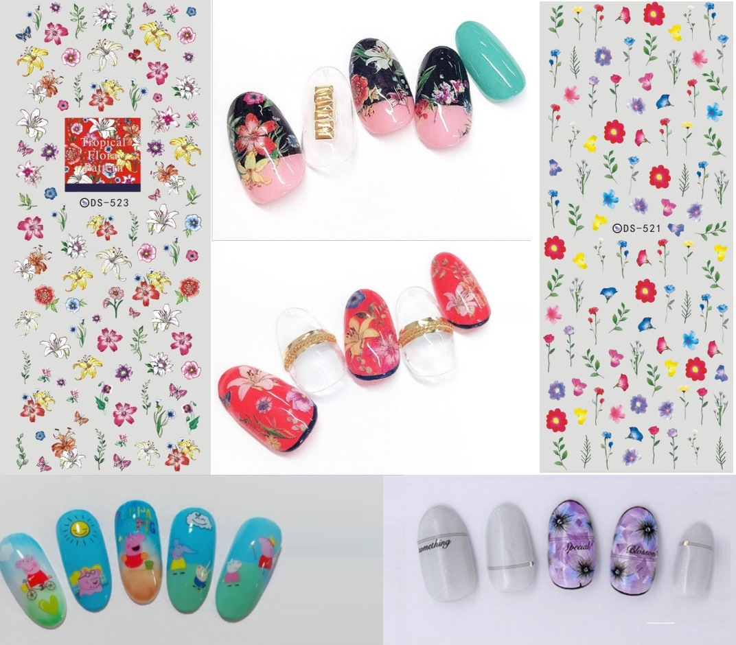 DS514-523 Top Form Brand Manicure Watermarking Adhesive Paper Flower Stickers Nail Sticker